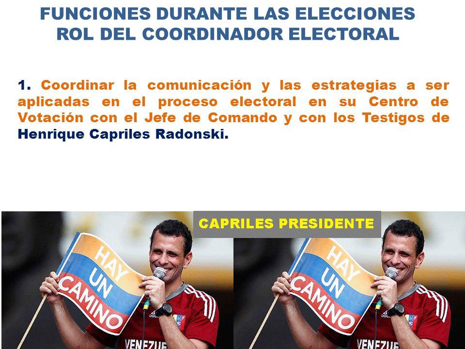 FUNCIONES DURANTE LAS ELECCIONES ROL DEL COORDINADOR ELECTORAL 1.