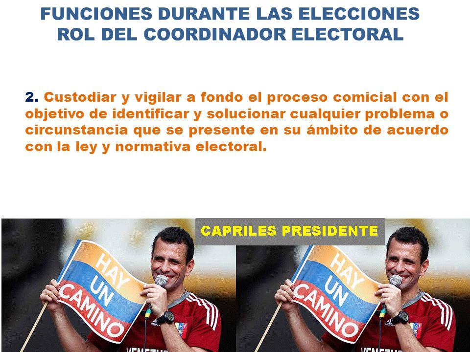 FUNCIONES DURANTE LAS ELECCIONES ROL DEL COORDINADOR ELECTORAL 2.