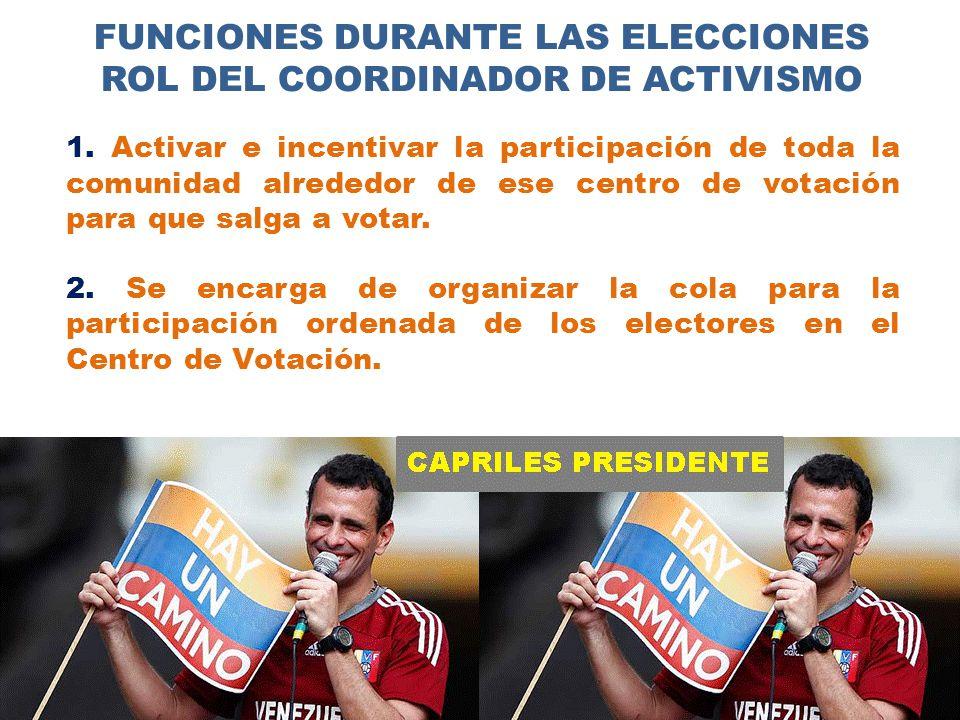 FUNCIONES DURANTE LAS ELECCIONES ROL DEL COORDINADOR DE ACTIVISMO 1.