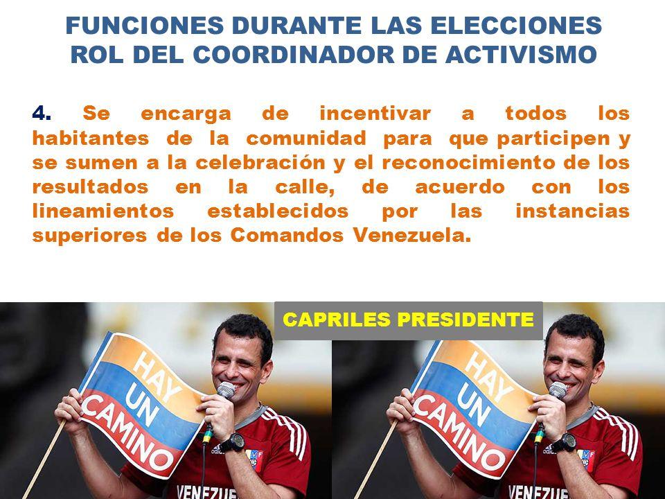 CAPRILES PRESIDENTE FUNCIONES DURANTE LAS ELECCIONES ROL DEL COORDINADOR DE ACTIVISMO 4.