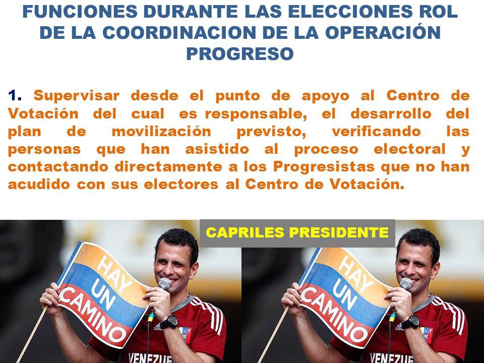 CAPRILES PRESIDENTE FUNCIONES DURANTE LAS ELECCIONES ROL DE LA COORDINACION DE LA OPERACIÓN PROGRESO 1.