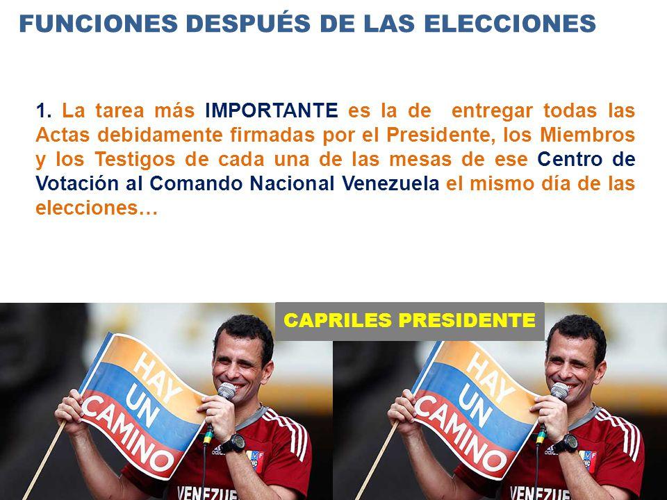 CAPRILES PRESIDENTE FUNCIONES DESPUÉS DE LAS ELECCIONES 1.