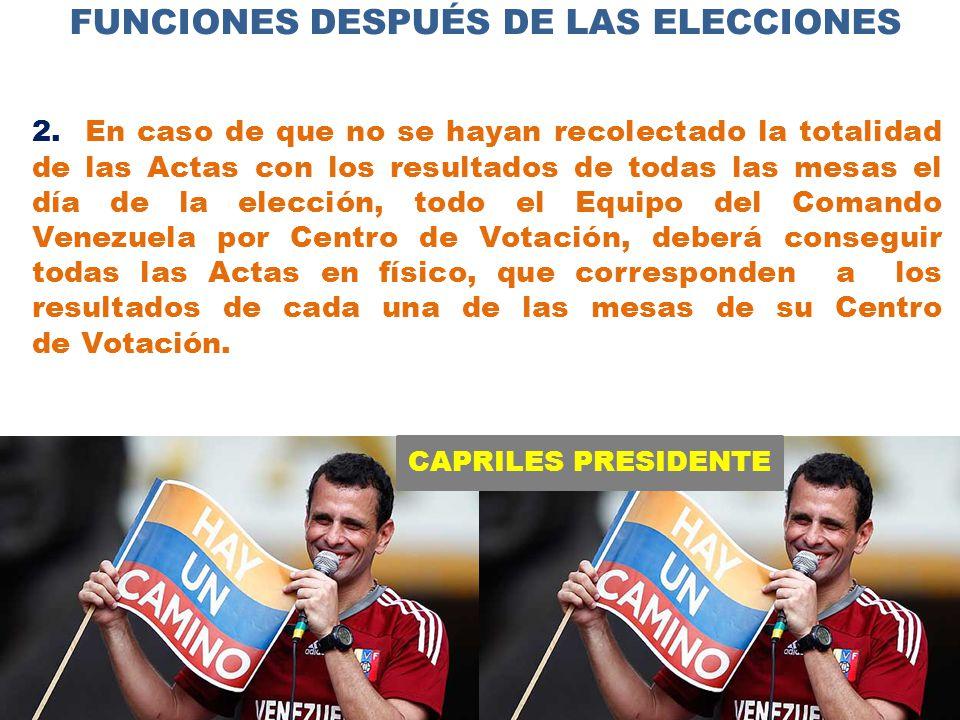 CAPRILES PRESIDENTE FUNCIONES DESPUÉS DE LAS ELECCIONES 2.