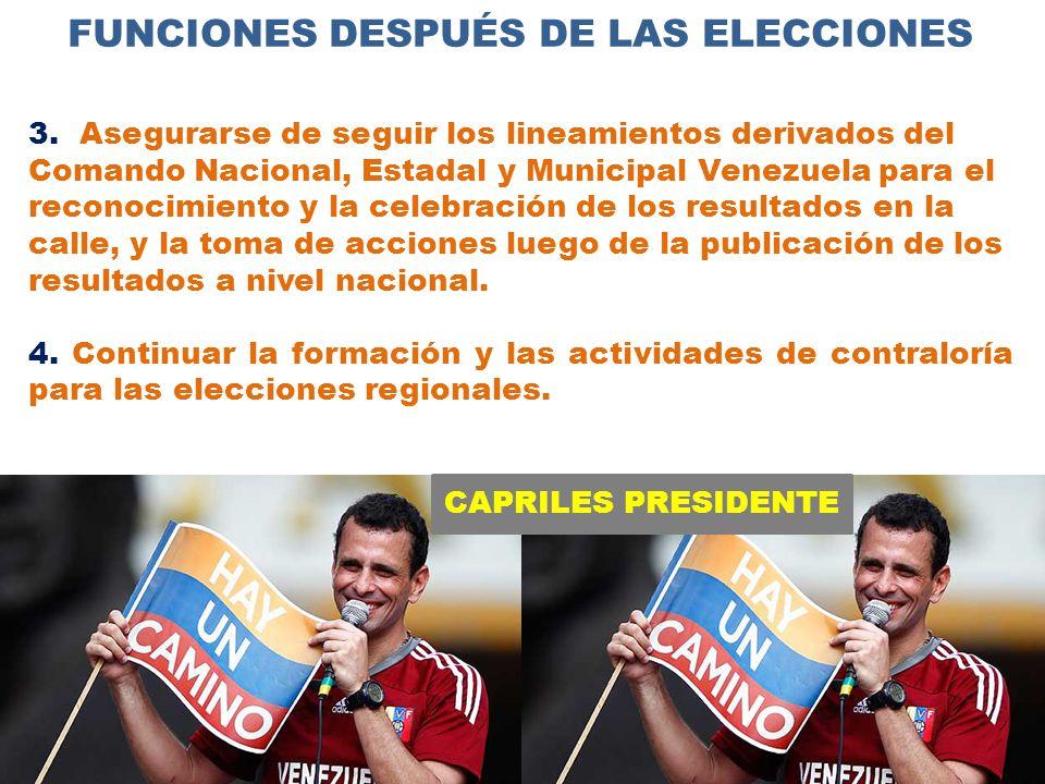 CAPRILES PRESIDENTE FUNCIONES DESPUÉS DE LAS ELECCIONES 3.