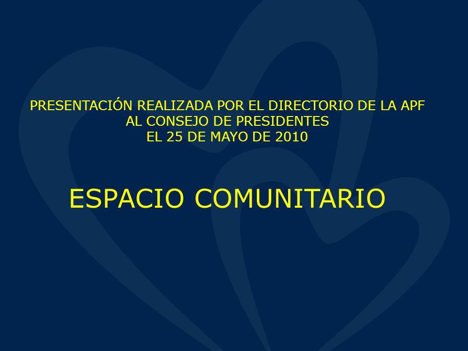 PRESENTACIÓN REALIZADA POR EL DIRECTORIO DE LA APF AL CONSEJO DE PRESIDENTES EL 25 DE MAYO DE 2010 ESPACIO COMUNITARIO