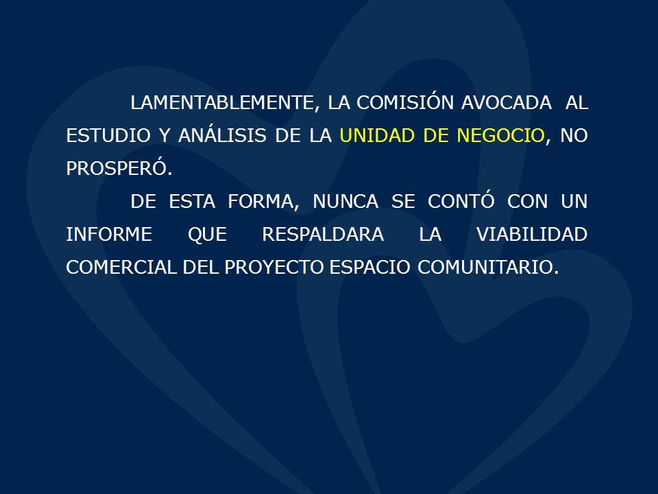 LAMENTABLEMENTE, LA COMISIÓN AVOCADA AL ESTUDIO Y ANÁLISIS DE LA UNIDAD DE NEGOCIO, NO PROSPERÓ.
