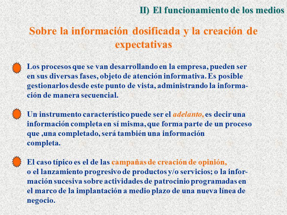 Sobre la información dosificada y la creación de expectativas Los procesos que se van desarrollando en la empresa, pueden ser en sus diversas fases, objeto de atención informativa.