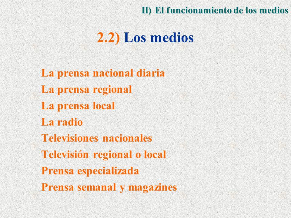 La prensa nacional diaria La prensa regional La prensa local La radio Televisiones nacionales Televisión regional o local Prensa especializada Prensa semanal y magazines 2.2) Los medios II) El funcionamiento de los medios