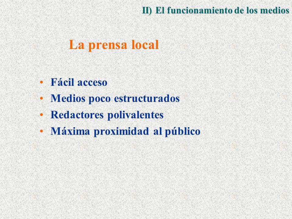 La prensa local Fácil acceso Medios poco estructurados Redactores polivalentes Máxima proximidad al público II) El funcionamiento de los medios