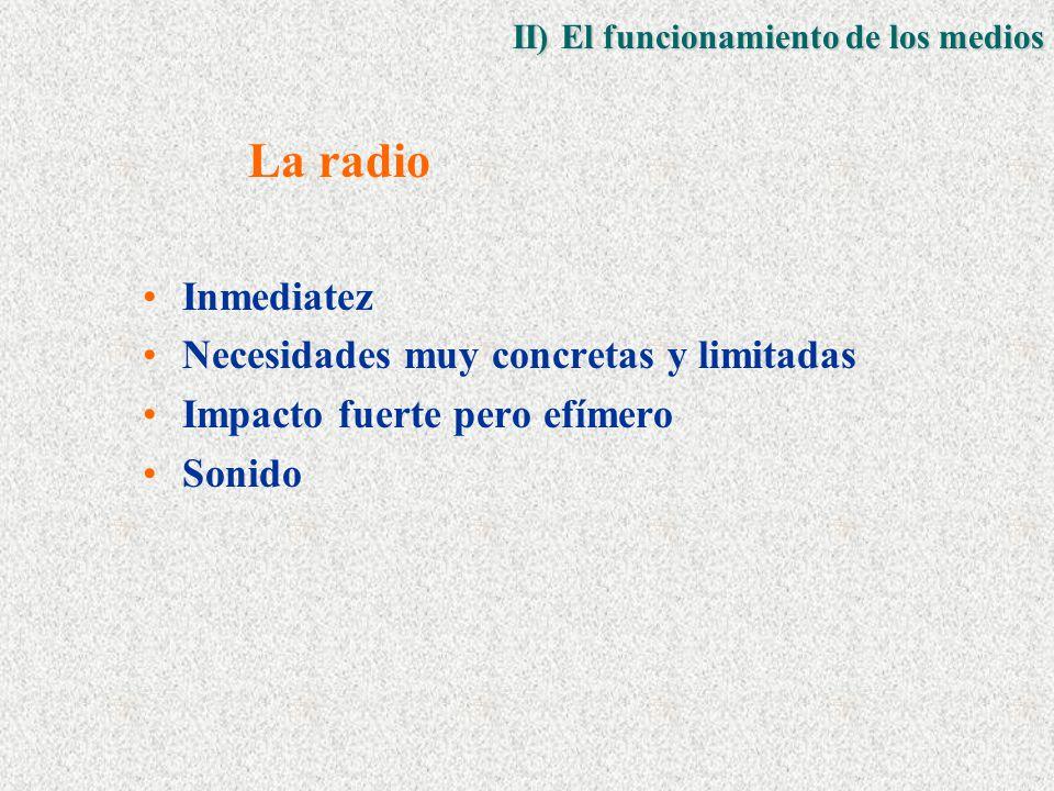La radio Inmediatez Necesidades muy concretas y limitadas Impacto fuerte pero efímero Sonido II) El funcionamiento de los medios