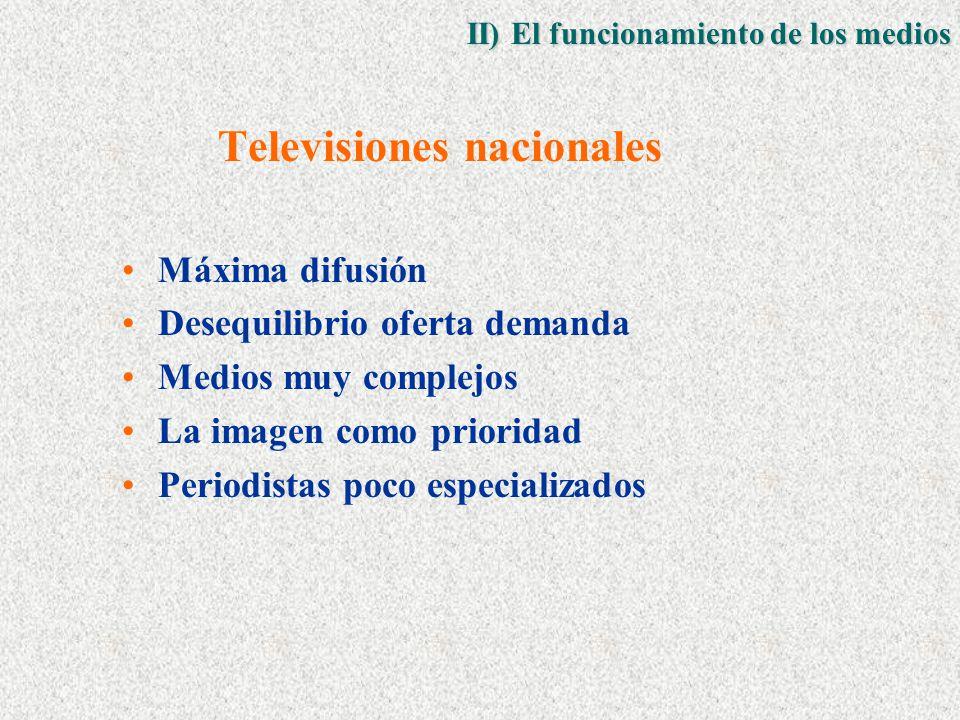 Televisiones nacionales Máxima difusión Desequilibrio oferta demanda Medios muy complejos La imagen como prioridad Periodistas poco especializados II) El funcionamiento de los medios