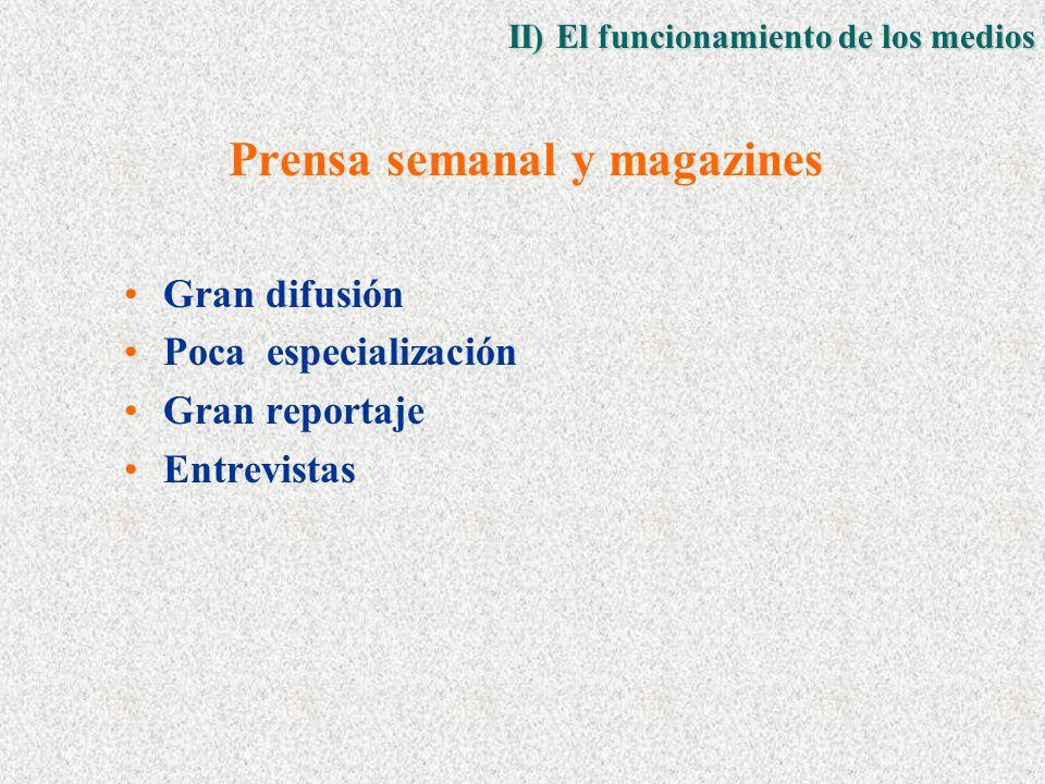 Prensa semanal y magazines Gran difusión Poca especialización Gran reportaje Entrevistas II) El funcionamiento de los medios