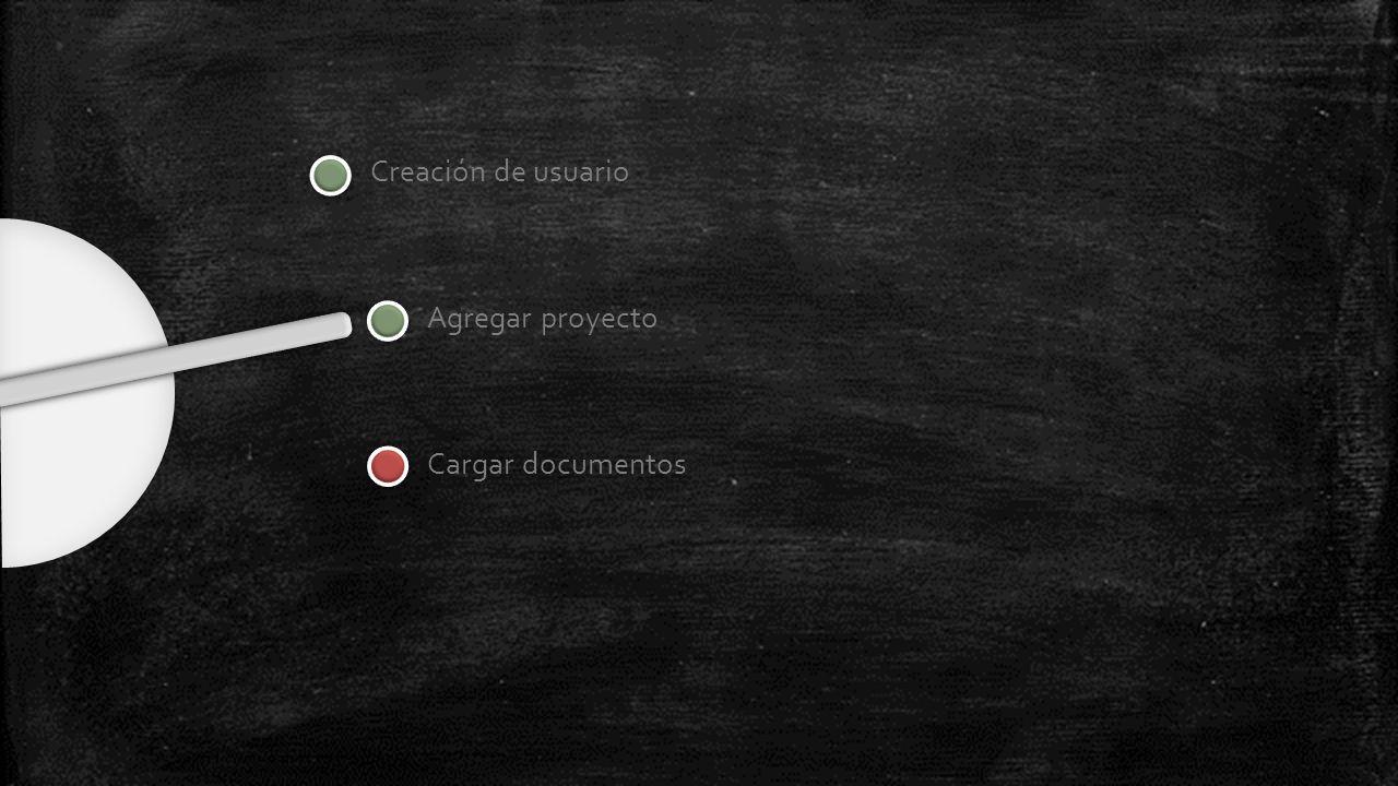 Creación de usuario Agregar proyecto Cargar documentos