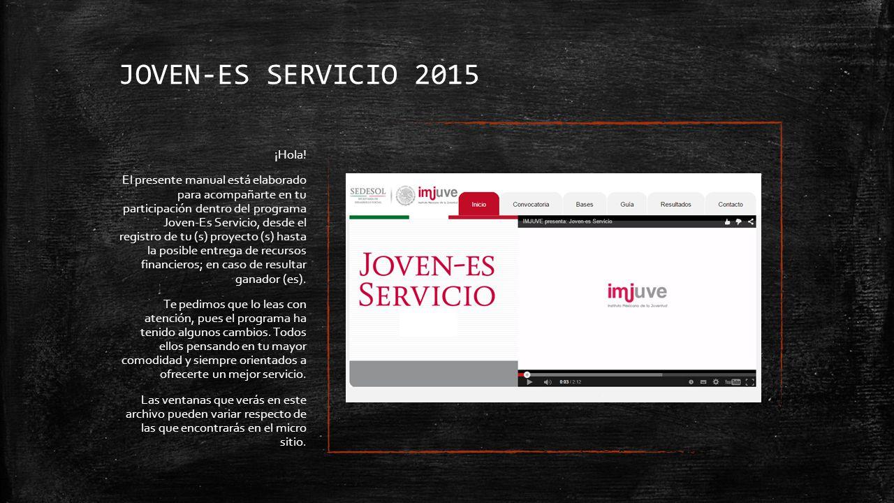 JOVEN-ES SERVICIO 2015 ¡Hola.
