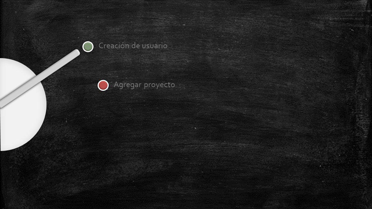 Creación de usuario Agregar proyecto