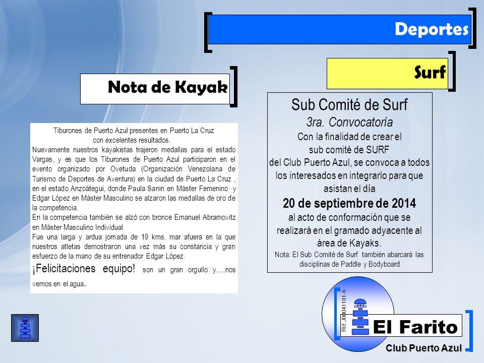 Rif: J00041181-6 Club Puerto Azul El Farito Deportes Surf Sub Comité de Surf 3ra.