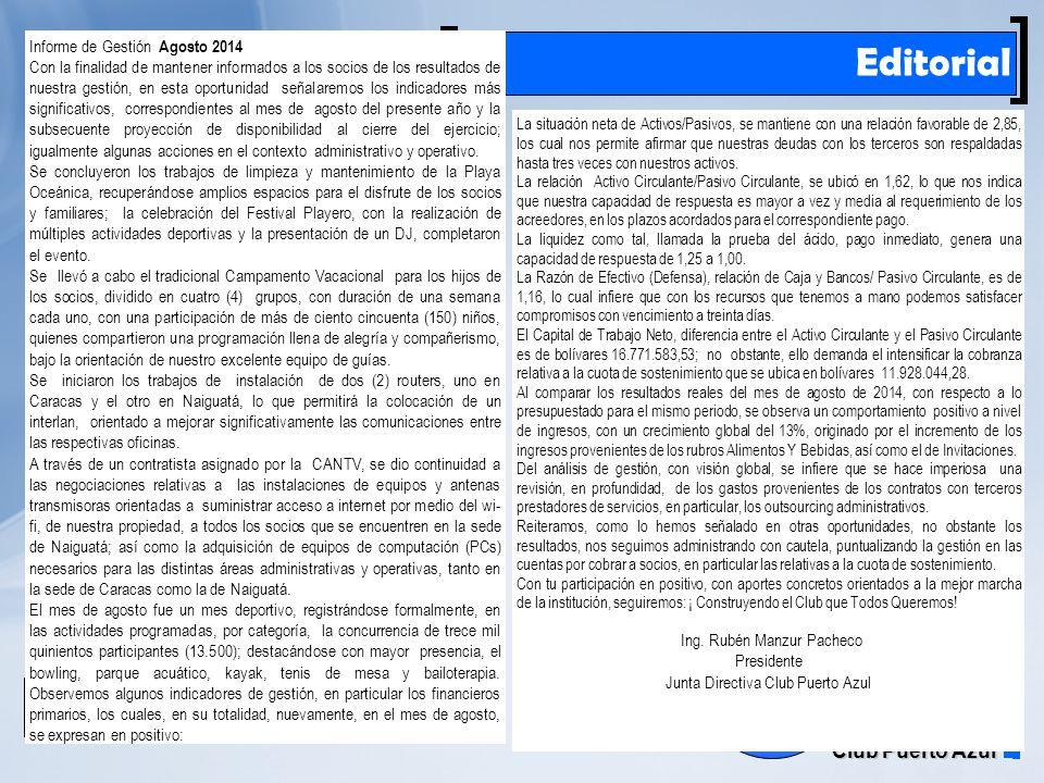 Rif: J00041181-6 Club Puerto Azul El Farito Editorial La situación neta de Activos/Pasivos, se mantiene con una relación favorable de 2,85, los cual nos permite afirmar que nuestras deudas con los terceros son respaldadas hasta tres veces con nuestros activos.