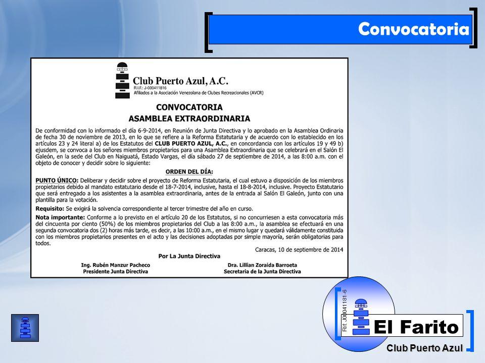Rif: J00041181-6 Club Puerto Azul El Farito Convocatoria
