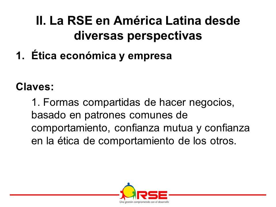 II. La RSE en América Latina desde diversas perspectivas 1.Ética económica y empresa Claves: 1.