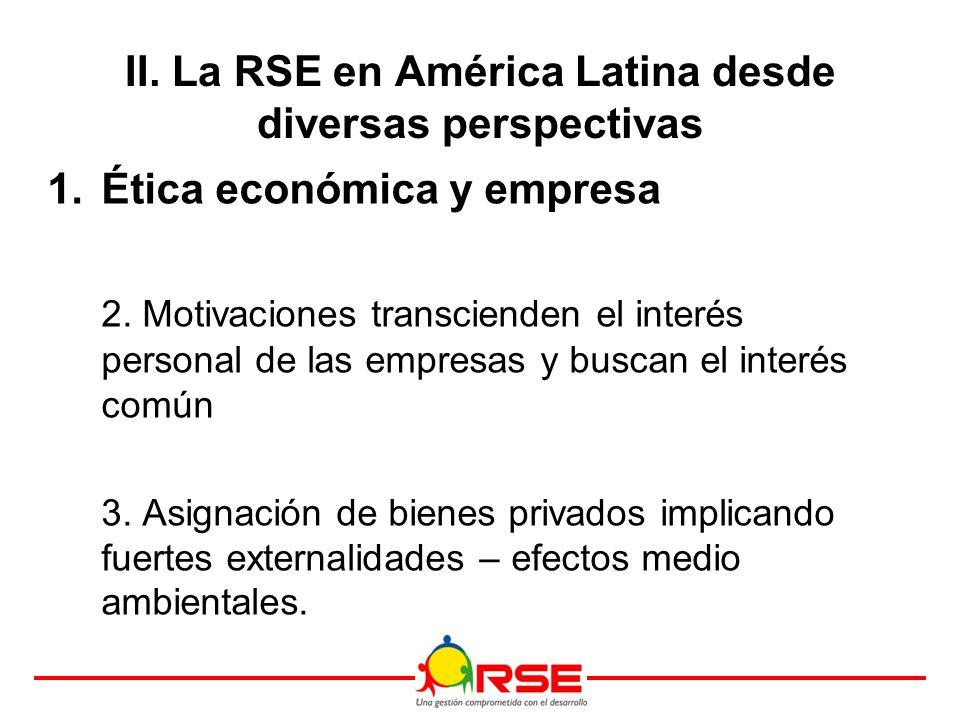 II. La RSE en América Latina desde diversas perspectivas 1.Ética económica y empresa 2.