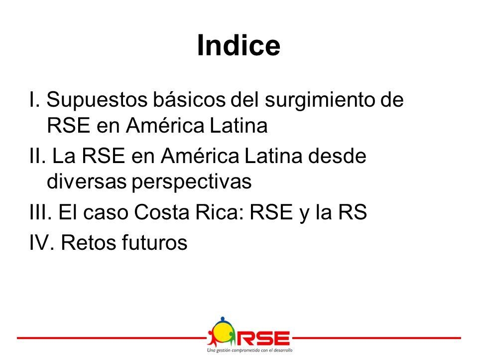 Indice I. Supuestos básicos del surgimiento de RSE en América Latina II.