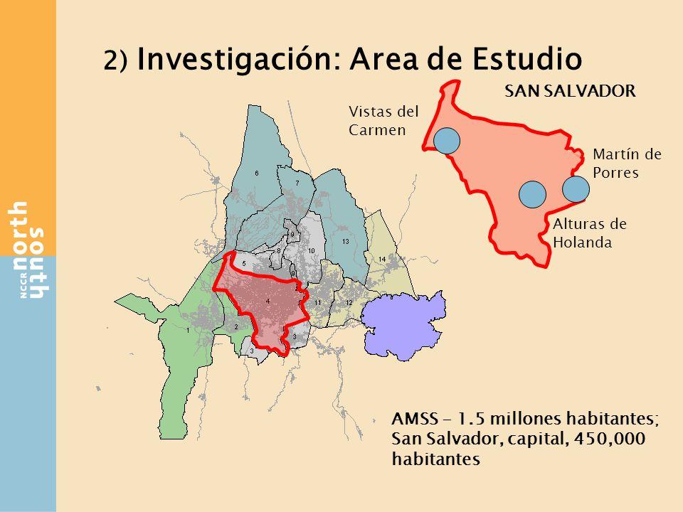 2) Investigación: Area de Estudio AMSS - 1.5 millones habitantes; San Salvador, capital, 450,000 habitantes Vistas del Carmen Martín de Porres Alturas de Holanda SAN SALVADOR