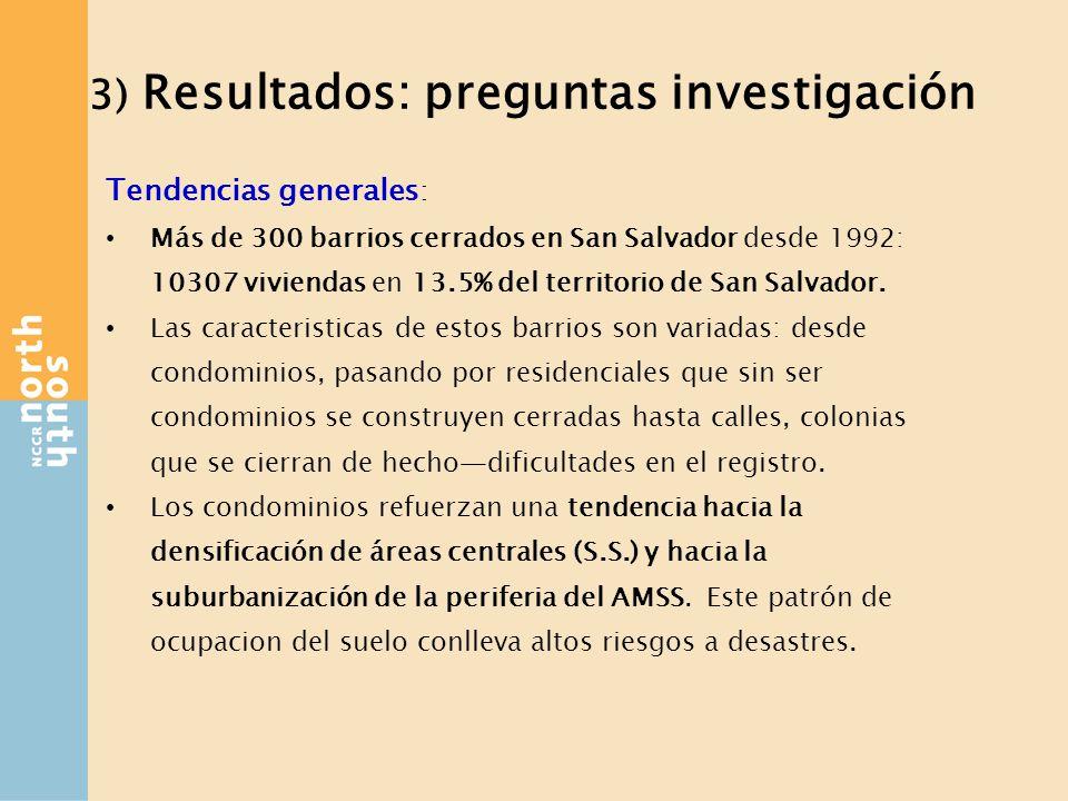 3) Resultados: preguntas investigación Tendencias generales : Más de 300 barrios cerrados en San Salvador desde 1992: 10307 viviendas en 13.5% del territorio de San Salvador.