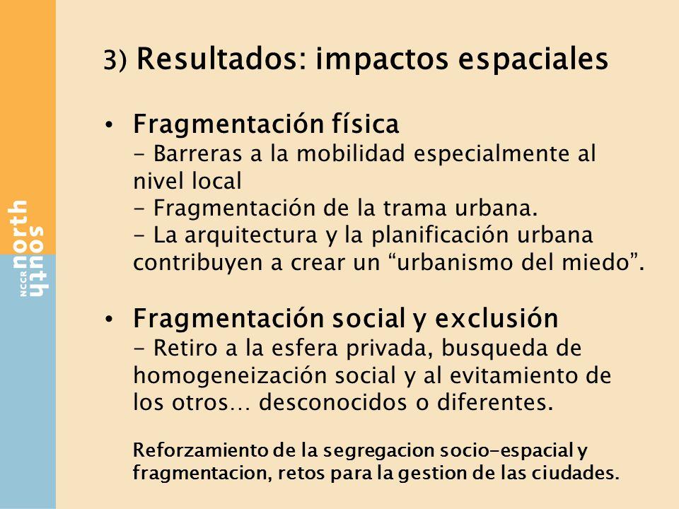 3) Resultados: impactos espaciales Fragmentación física - Barreras a la mobilidad especialmente al nivel local - Fragmentación de la trama urbana.