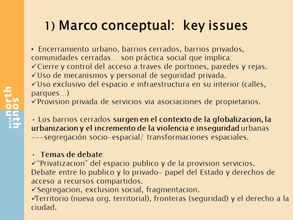 1) Marco conceptual: key issues Encerramiento urbano, barrios cerrados, barrios privados, comunidades cerradas… son práctica social que implica: Cierre y control del acceso a traves de portones, paredes y rejas.