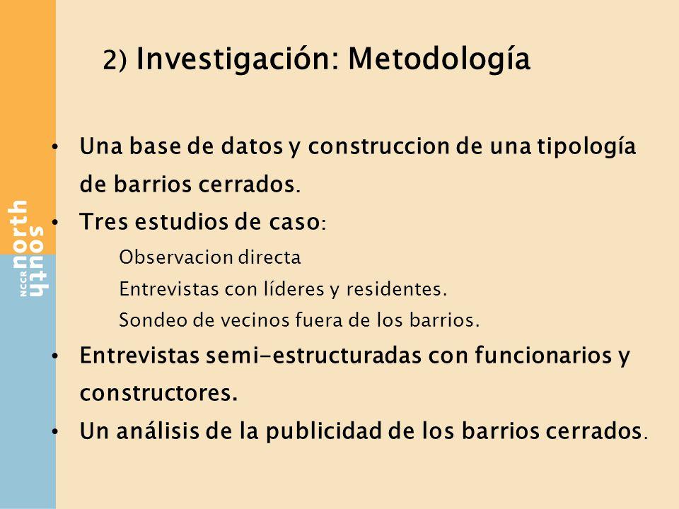 2) Investigación: Metodología Una base de datos y construccion de una tipología de barrios cerrados.
