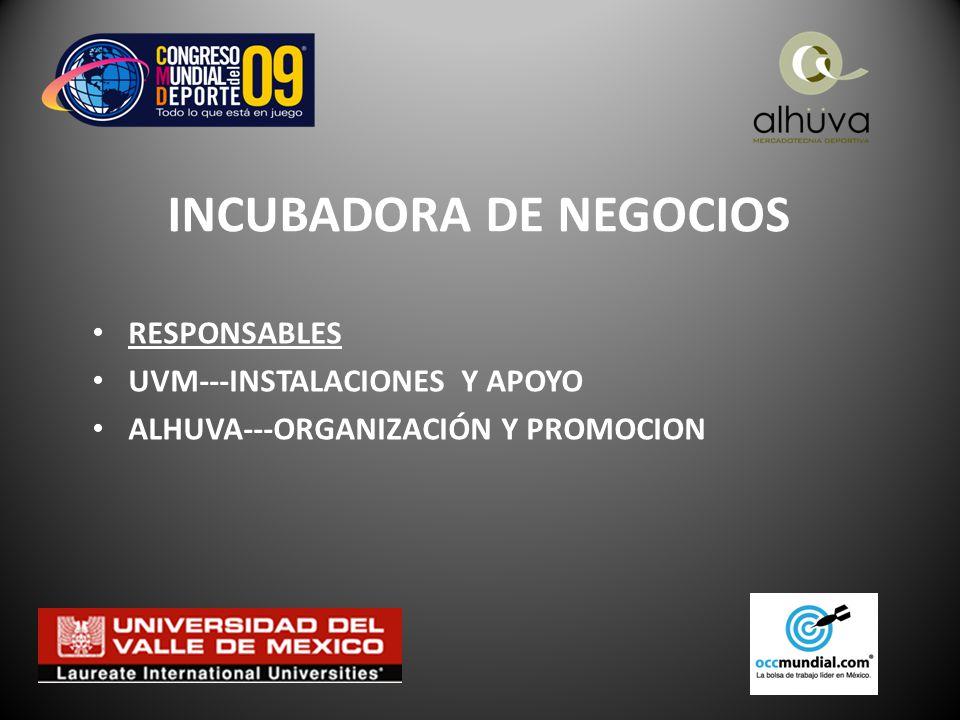 INCUBADORA DE NEGOCIOS RESPONSABLES UVM---INSTALACIONES Y APOYO ALHUVA---ORGANIZACIÓN Y PROMOCION