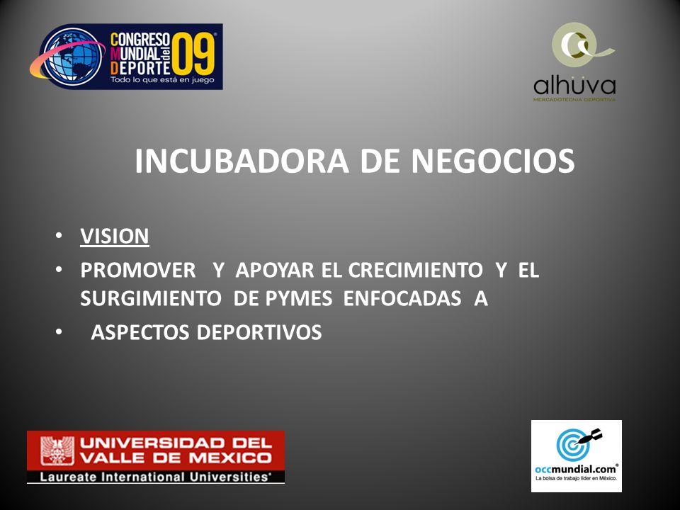INCUBADORA DE NEGOCIOS VISION PROMOVER Y APOYAR EL CRECIMIENTO Y EL SURGIMIENTO DE PYMES ENFOCADAS A ASPECTOS DEPORTIVOS