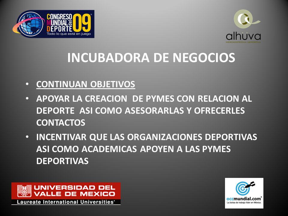 INCUBADORA DE NEGOCIOS CONTINUAN OBJETIVOS APOYAR LA CREACION DE PYMES CON RELACION AL DEPORTE ASI COMO ASESORARLAS Y OFRECERLES CONTACTOS INCENTIVAR QUE LAS ORGANIZACIONES DEPORTIVAS ASI COMO ACADEMICAS APOYEN A LAS PYMES DEPORTIVAS