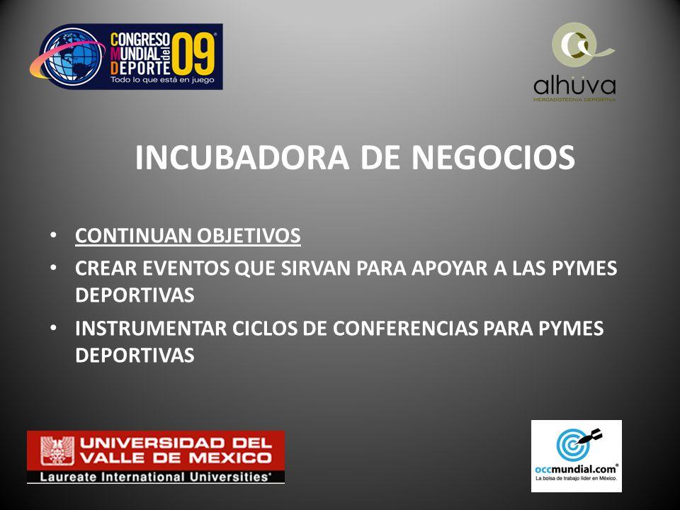 INCUBADORA DE NEGOCIOS CONTINUAN OBJETIVOS CREAR EVENTOS QUE SIRVAN PARA APOYAR A LAS PYMES DEPORTIVAS INSTRUMENTAR CICLOS DE CONFERENCIAS PARA PYMES DEPORTIVAS