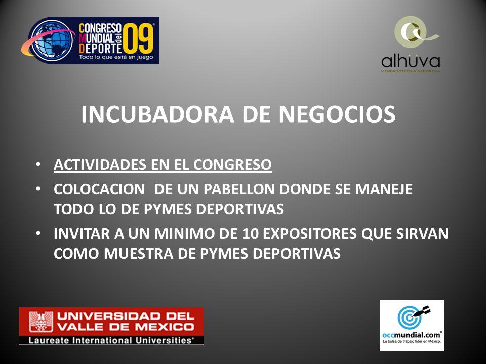 INCUBADORA DE NEGOCIOS ACTIVIDADES EN EL CONGRESO COLOCACION DE UN PABELLON DONDE SE MANEJE TODO LO DE PYMES DEPORTIVAS INVITAR A UN MINIMO DE 10 EXPOSITORES QUE SIRVAN COMO MUESTRA DE PYMES DEPORTIVAS