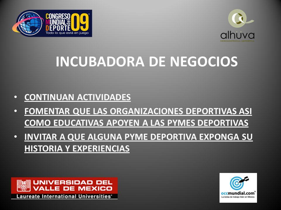 INCUBADORA DE NEGOCIOS CONTINUAN ACTIVIDADES FOMENTAR QUE LAS ORGANIZACIONES DEPORTIVAS ASI COMO EDUCATIVAS APOYEN A LAS PYMES DEPORTIVAS INVITAR A QUE ALGUNA PYME DEPORTIVA EXPONGA SU HISTORIA Y EXPERIENCIAS