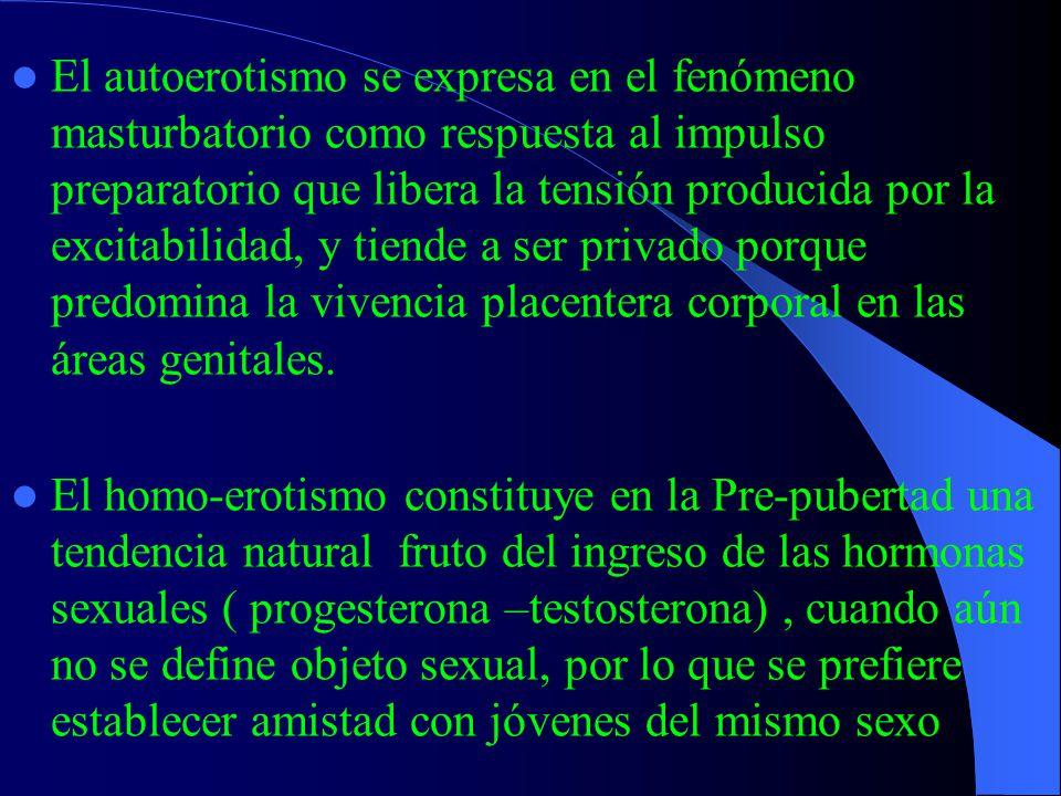 El segundo cambio configuracional, el surgimiento de las características sexuales secundarias y la indefinición del impulso sexual en cuanto a objeto generan fragilidad e inestabilidad de la autoestima corporal y de la identidad sexual en general La sexualidad del pre-puber es hedonista, auto- erótica y homo-erótica, lo que evidentemente se asocia a exploración sensorial-genital que tiende a ser proyectada a pares del mismo sexo.