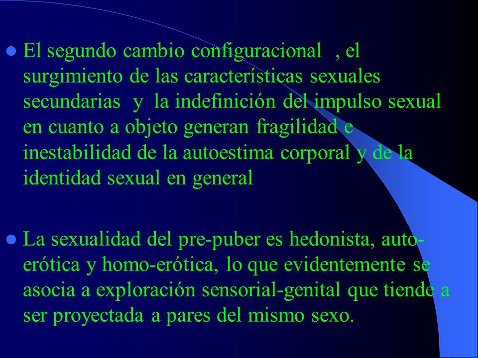 Pre-pubertad Aparece la motivación sexual con intereses manifiestos en relación a los aspectos erógenos asociados a conducta sexual El impulso sexual es difuso, o sea, no existe diferenciación entre objeto y finalidad.
