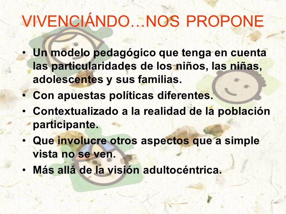 VIVENCIÁNDO…NOS PROPONE Un modelo pedagógico que tenga en cuenta las particularidades de los niños, las niñas, adolescentes y sus familias.