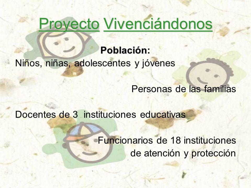 Proyecto Vivenciándonos Población Población: Niños, niñas, adolescentes y jóvenes Personas de las familias Docentes de 3 instituciones educativas Funcionarios de 18 instituciones de atención y protección