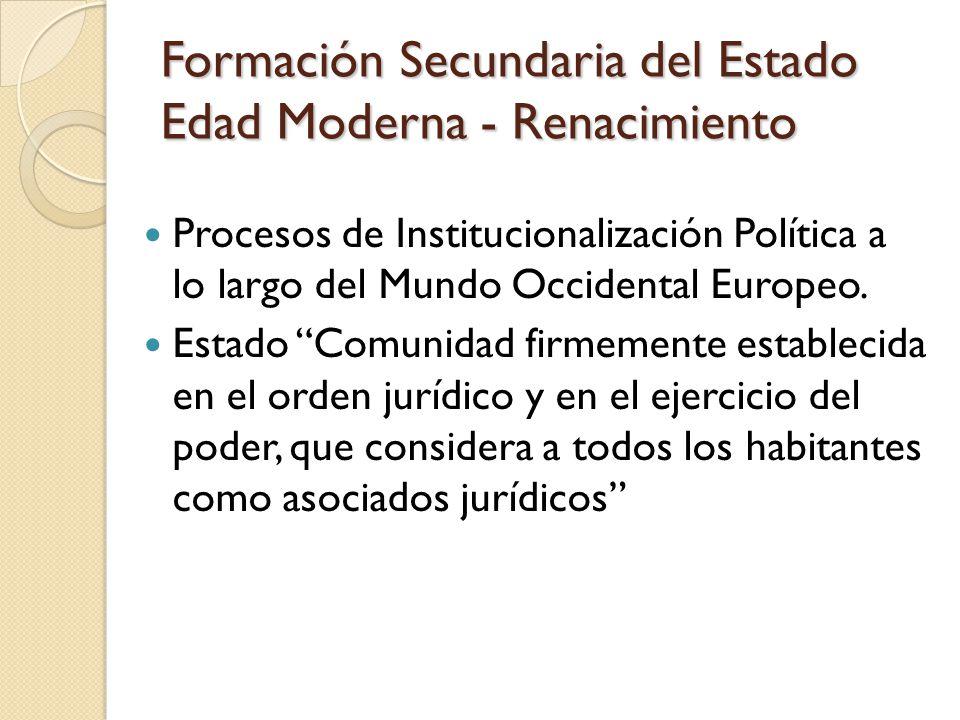 Formación Secundaria del Estado Edad Moderna - Renacimiento Procesos de Institucionalización Política a lo largo del Mundo Occidental Europeo.
