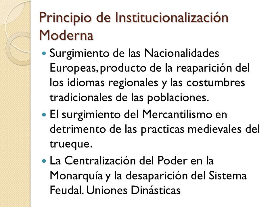 Principio de Institucionalización Moderna Surgimiento de las Nacionalidades Europeas, producto de la reaparición del los idiomas regionales y las costumbres tradicionales de las poblaciones.