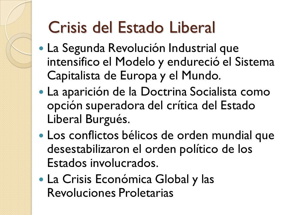Crisis del Estado Liberal La Segunda Revolución Industrial que intensifico el Modelo y endureció el Sistema Capitalista de Europa y el Mundo.