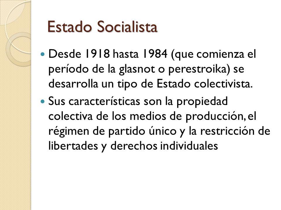 Estado Socialista Desde 1918 hasta 1984 (que comienza el período de la glasnot o perestroika) se desarrolla un tipo de Estado colectivista.