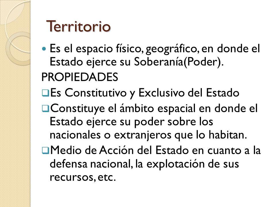 Territorio Es el espacio físico, geográfico, en donde el Estado ejerce su Soberanía(Poder).