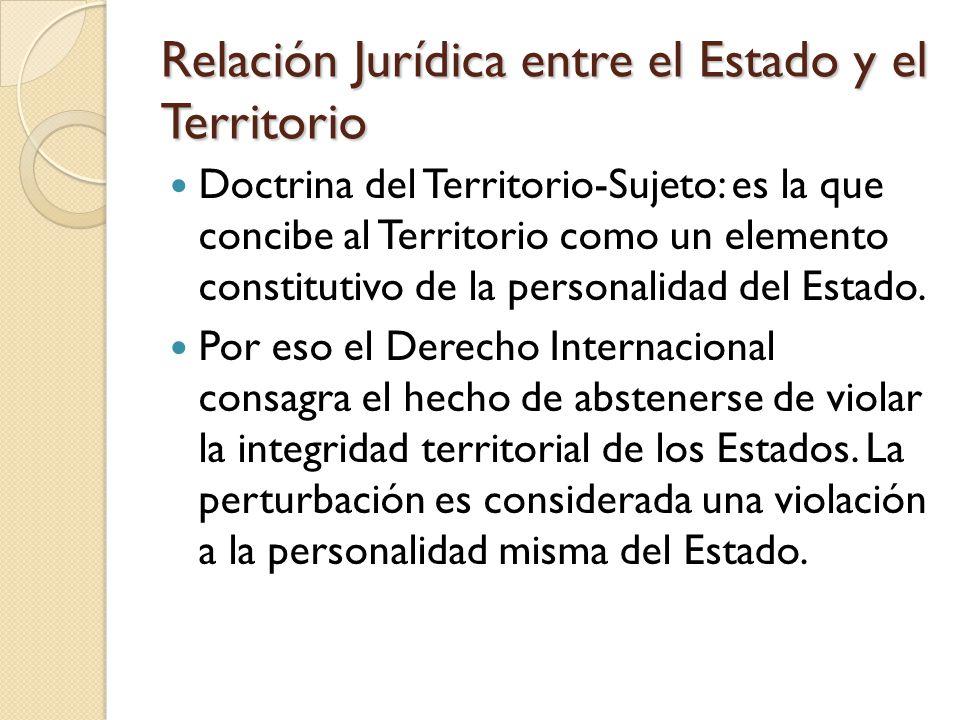 Relación Jurídica entre el Estado y el Territorio Doctrina del Territorio-Sujeto: es la que concibe al Territorio como un elemento constitutivo de la personalidad del Estado.
