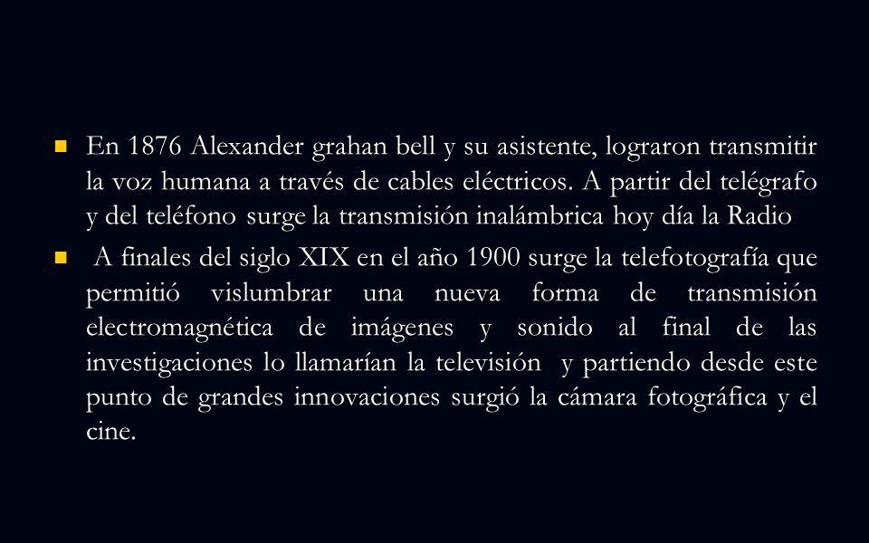En 1876 Alexander grahan bell y su asistente, lograron transmitir la voz humana a través de cables eléctricos.