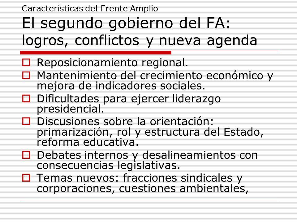 Características del Frente Amplio El segundo gobierno del FA : logros, conflictos y nueva agenda  Reposicionamiento regional.