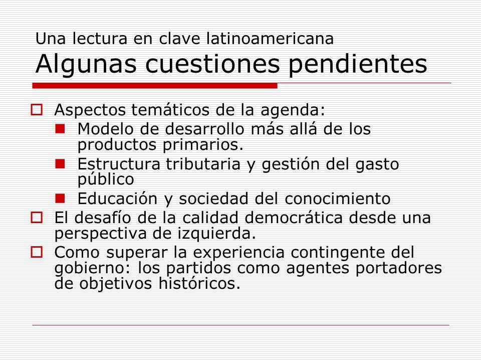Una lectura en clave latinoamericana Algunas cuestiones pendientes  Aspectos temáticos de la agenda: Modelo de desarrollo más allá de los productos primarios.