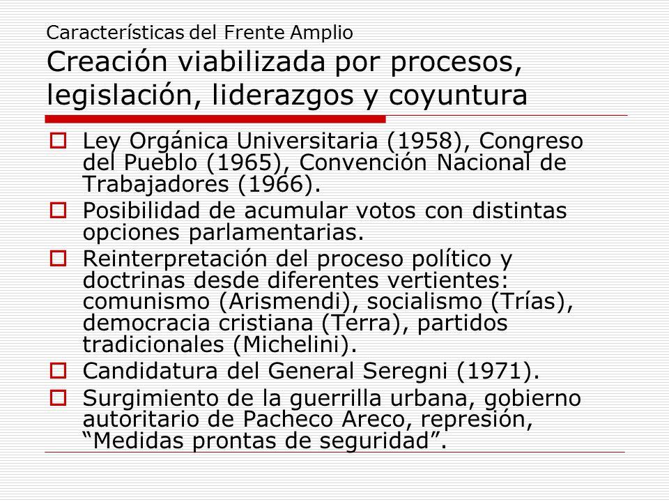Características del Frente Amplio Creación viabilizada por procesos, legislación, liderazgos y coyuntura  Ley Orgánica Universitaria (1958), Congreso del Pueblo (1965), Convención Nacional de Trabajadores (1966).